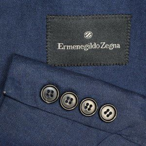 42L Ermenegildo Zegna Blue LINEN Wool Silk COAT